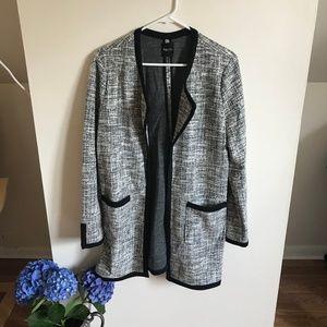 Duster Length Blazer, Black & White Details